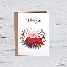 I love you Valentine's Day card everyday card with a