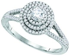 10kt White Gold Womens Round Diamond Solitaire Triple Halo Split-shank Bridal Wedding Engagement Ring 1/2 Cttw (I1 clarity; H-I color)