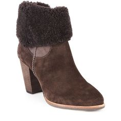 UGG Australia Charlee Shearling-Cuff Suede Booties ($250) ❤ liked on Polyvore featuring shoes, boots, ankle booties, apparel & accessories, brown, suede boots, suede shearling boots, brown suede booties, side zip boots and shearling lined boots