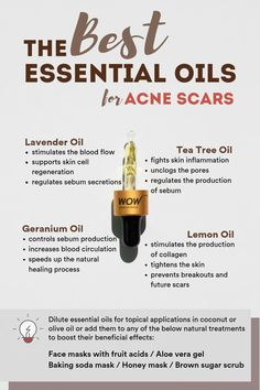 Essential oils are some of the most recommended natural remedies for acne scars because: They accelerate healing of scar tissue; They help fade away scars; They regulate melanin production and even out dark spots; They help dissolve sebum and impurities Natural Cough Remedies, Natural Cures, Herbal Remedies, Health Remedies, Home Remedies, Natural Health, Scar Remedies, Ayurveda, Health And Wellness