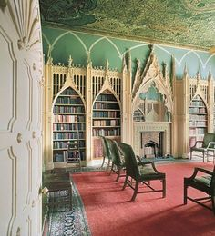 Gothic library at writer Horace Walpole's fantastical Strawberry Hill, a castle constructed in the outer London village of Twickenham in 1748 #architecture #books #Gothic_Revival