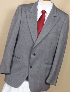 Harve Bernard Mens 2 Button Striped Gray Wool Sport Coat Size 42R #HarveBernard #TwoButton