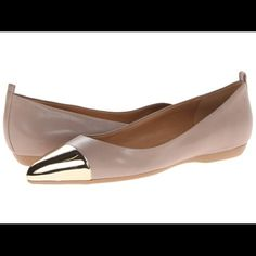 Nine West 'Hatie' Flat These are a beautiful pointy toe flat that are perfect to wear to work, church, etc. The toe is a shiny gold and the rest of the flat is nude leather. These are gently used, worn to work a few times. The underside of the toe has some wear (see pics). Nine West Shoes Flats & Loafers