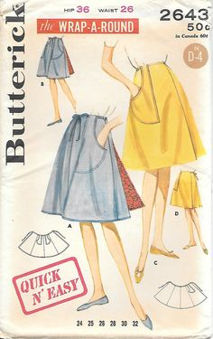 Butterick 2643 UNCUT 1960s Wrap A Round by GrandmaMadeWithLove