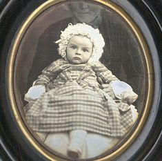 French quarter plate daguerreotype of a cute infant by Jean Victor Andrieux, Paris, ca. 1854