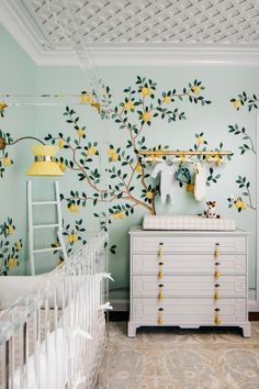 Lemon Drop Nursery With Wallpaper Bedroom Accent Wall Dresser Tree