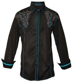Roar Secured Embroidered Stretch Shirt Black