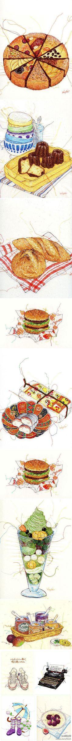 miyuki sakai- lovveeee her! Dessert Illustration, Illustration Art, Food Drawing, Painting & Drawing, Food Sketch, Watercolor Food, Food Painting, Food Journal, Kitchen Art