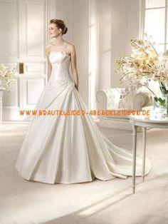 A-linie Schöne Traumhafte Brautkleider aus Satin mit Applikation