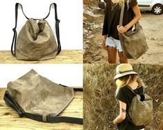 Hobo leather crossbody backpack, Convirtable hobo leather bag, leather backpack, Distressed bag, Size details below in text and 🛍️ Purses and Bags Leather Backpack Purse, Leather Purses, Leather Crossbody, Small Leather Bag, Backpack Bags, Convertible Backpack, Hobo Handbags, Distressed Leather, Hobo Bag