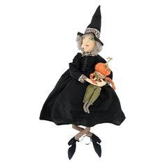 Joe Spencer Marleigh Witch with Pumpkin Doll