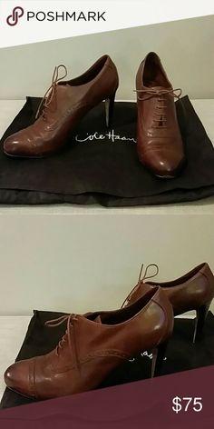 Cole Haan brown leather heels Brown detailed leather lace up Cole Haan heels, size 8.5, 3.5 inch heel, dust bag included! Cole Haan Shoes Heels