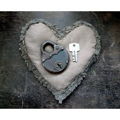 Rustic padlock. Vintage iIron padlock with the key. Round padlock. ($12) ❤ liked on Polyvore featuring home, home decor, longliving and padlock