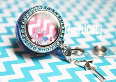 Too Cute!  Colorful Custom ID Badge Locket for Floating Charms - No need for a lanyard or chain!  Clips right on to clothes! by RepliKitty  Chevron plate with crystals, pearls, and magic wand dangle charm! Design your own charm set at www.replikitty.etsy.com #badge #badgelocket #badgereel #nametag #nurses #nursing #doctor #dentalassistant #dentistry #office #id