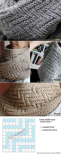 Crochet Patterns Yarn Scarf-tube 'Fish Skeleton' with knitting needles // Natalia … Knitting Stiches, Crochet Stitches Patterns, Knitting Charts, Knitting Patterns Free, Baby Knitting, Stitch Patterns, Knitting Needles, Knitting Accessories, Knitting Designs