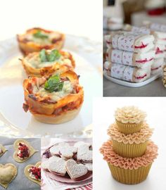 Bridal Shower Food: lasagna cupcakes, sweet finger sandwiches, lacy cupcake, mini sweetheart cherry pie, & linzer heart cookies.