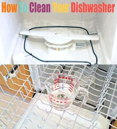 How To Clean Your Dishwasher Run dishwasher with 1 cup of vinegar on top rack; then run again with 1 cup baking soda sprinkled in the bottom. - Top 3 Essential DIY Dishwasher Maintenance Techniques