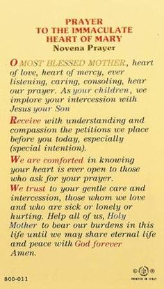 Novena to the Immaculate Heart of Mary Prayers To Mary, Novena Prayers, Special Prayers, Prayers For Healing, Catholic Prayers, Spiritual Prayers, Angel Prayers, Faith Prayer, Prayer Book