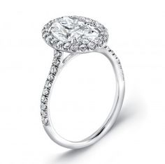 ($2901) Uneek Women's Engagement Ring. Oval diamond engagement ring with a pave semi-mount and an oval halo adorned with round brilliant diamonds. #oval #ovaldiamond #halo #uneek #engagementring