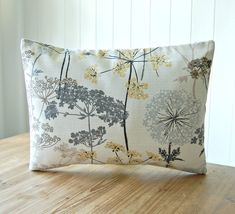 This listing is for one lovely 12 x 16 inch decorative pillow cover made with the fabric shown - it has dandelions and meadow flowers in muted shades of grey, pale gold and light brown on a soft white lined / slub background. ***Please scroll sideways to see each photograph and select the pattern placement A, B or C from the drop down menu - I have ONE of each pattern available - covers may differ slightly but will be a close match*** Fabric is the SAME on the reverse / envelope op...