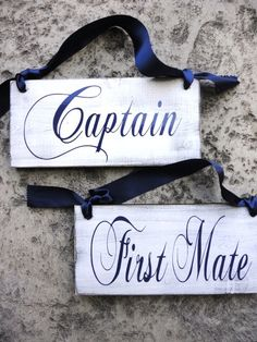 Captain & First Mate With Happily Married On The Back, Rustic Wedding Chair…