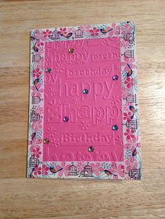 Birthday card with washi tape border