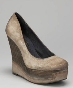 Take a look at this Taupe Berry Platform Wedge Pump by Calvin Klein Jeans on #zulily today!