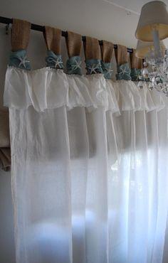 Burlap and White Linen Curtains - Starfish Jewelry Accent Burlap Window Treatments, Farmhouse Window Treatments, White Linen Curtains, Drapes Curtains, Valances, Beach Cottage Decor, Farmhouse Wall Decor, Modern Farmhouse, Tuscan Style