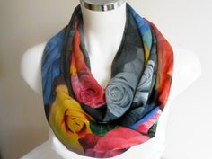 Rose Infinity Scarf Scarf Colorful roses rose by Nazcolleccolors