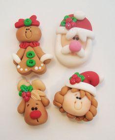 Mini Mix Set Christmas Polymer Clay Charm Bead Scrapbooking Embelishment Bow Center Pendant Cupcake Topper. $8.50, via Etsy.