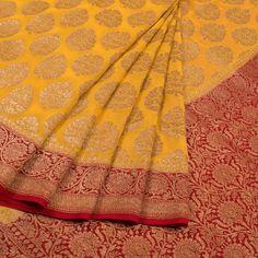 Handwoven Banarasi Katrua Georgette Saree With Floral Butis 10020373 - AVISHYA.COM