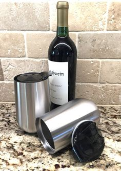 Stainless Steel Stemless Wine Glasses by Avito- Set of 2 Double Walled Insulated 15 Oz with Lid - Shatterproof - BPA Free Healthy Choice - Dishwasher Safe - Best Value Tumblers With Lids, Wine Tumblers, Coffee Tumbler, Stemless Wine Glasses, Healthy Choices, Stainless Steel, Pure Products, Tea, Food Grade
