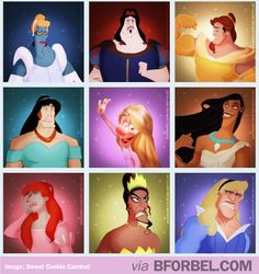 Disney Villains wearing Disney Princess dresses. No one wears that dress like Gaston!