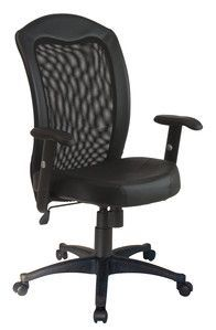 Office Star Screen Back Chair with Black Vinyl Trim and Leather Seat EX1580-3