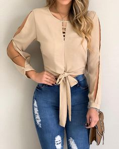 Solid Split Sleeve Cut Out Knot Waist Blouse woman fashion shoes,woman fashion bohemian,woman fashion everyday,woman fashion 40 year old,wo. Trend Fashion, Girl Fashion, Fashion Dresses, Womens Fashion, Fashion Ideas, Fashion Shoes, Fashion Blouses, Fashion Brands, Cute Casual Outfits