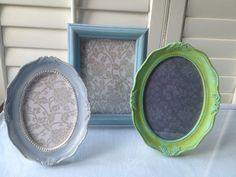 Shabby Chic Set of 3 Hand Painted Frames: Turquoise, Green and Blue, Oval and Rectangle. $17.00, via Etsy.