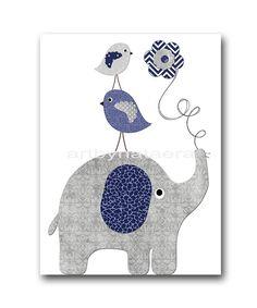 Elephant Nursery Decor Baby Boy Nursery Art Instant Download Art Childrens Art Digital Download Print Baby Room Decor 8x10 11X14 Navy Gray