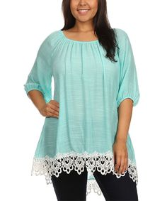 Look at this J-Mode USA Los Angeles Mint Lace-Hem Tunic - Plus on #zulily today!
