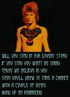 love the picture an the lyrics, horrible type, but i guess it goes because this is bowie showing his native american side....