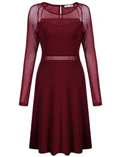 Meaneor Womens Mesh Long Sleeve Slim Fit ALine Cocktail Party Midi Dress Wine Red M ** Find out more about the great product at the image link-affiliate link #SkaterDress