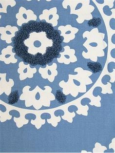 Kravet Fabric - 100% cotton Suzani print with cotton boucle embroidery. $35.95