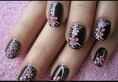 Nail Designs is a wonderful creativity to make your nails look stunning. It is excellent for Girls and women's who love growing pretty nail designs! Nail Designs 2014, Flower Nail Designs, Flower Nail Art, Cool Nail Designs, Acrylic Nail Designs, Paint Designs, Nails Yellow, Pink Nails, Black Nails