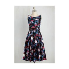 Pinup Sleeveless Fit & Flare Trademark Twirl Dress ($54) ❤ liked on Polyvore featuring dresses, apparel, fashion dress, multi, pinup dresses, sleeveless fit and flare dress, skater skirts, floral fit and flare dress and sleeveless dress