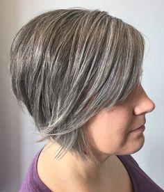 50 Gray Hair Styles Trending in 2020 - Hair Adviser Grey Curly Hair, Short Grey Hair, Gray Hair, Thin Hair, Haircut For Older Women, Short Hair Cuts For Women, Short Hair Styles, Side Bangs Hairstyles, Hairstyles Haircuts