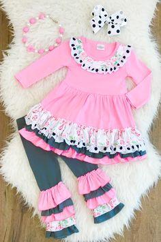Arianna Floral Polka Dot Ruffle Boutique Outfit Way too adorable Kids Outfits Girls, Dresses Kids Girl, Little Girl Outfits, Cute Outfits For Kids, Little Girl Fashion, Toddler Girl Outfits, Fashion Niños, Kids Fashion, Mode Batik