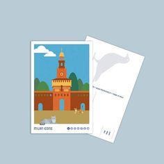 Milan Icons Postcard, Castello Sforzesco, piazza Castello, Milano Milan, Icons, Logos, Etsy, Image, Art, Art Background, Symbols, Logo