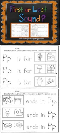 "Alphabet worksheets for beginning sound and ending sound identification. Kids color to identify the correct answer. 25 Letters - Every letter (except X) has a page for beginning sounds with the sentence frame ""____ is for ____."" The following 13 letters have a page for ending sounds with the sentence frame "" ____ ends in ____."" (B,D,F,G,K,L,M,N,P,R,S,T, and X)"
