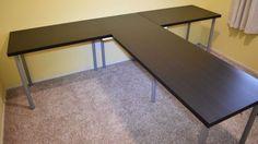 TShaped Partner Desk from IKEA parts   IKEA Hackers   Bloglovin'