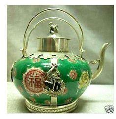 Tibet Porselein  Dragon Phoenix Tea Pot