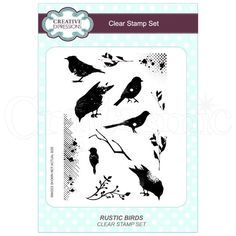 Creative Expressions Stamp Set by Lisa Horton - Rustic Birds Image Shows, Clear Stamps, Decoupage, Christmas Crafts, Lisa, Birds, Rustic, Creative, Art
